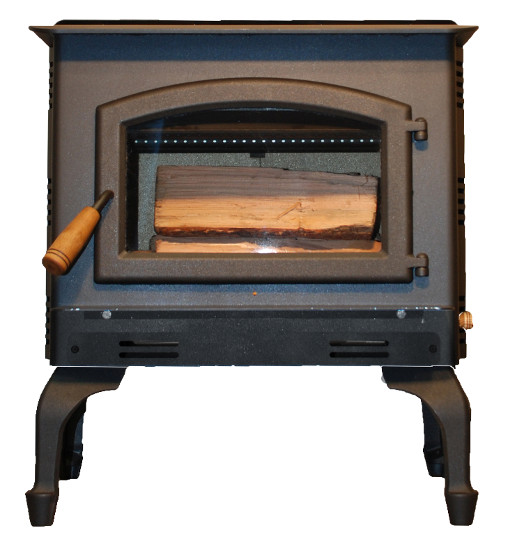 Mahogany wood stove from Breckwell available with all black legs